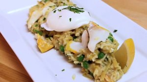 serve rice with poached egg