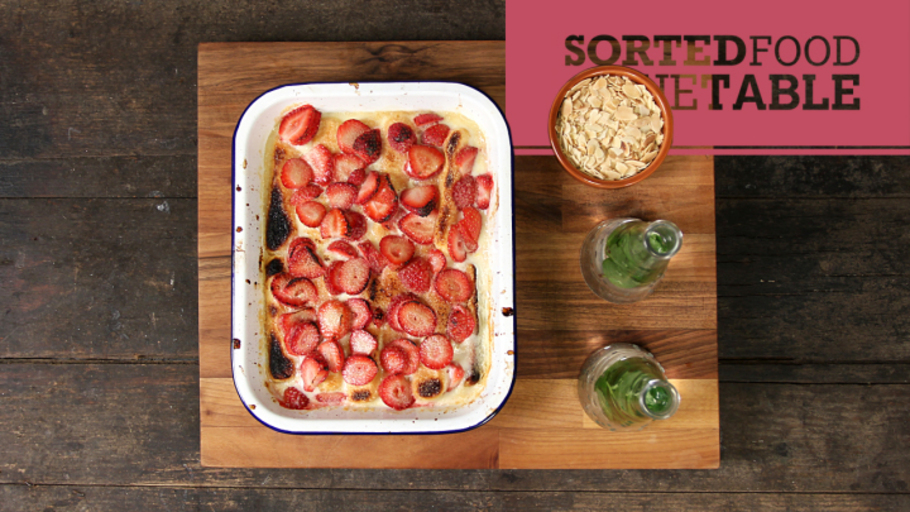SPEEDY STRAWBERRY AND LEMON GRILLED PUDDING
