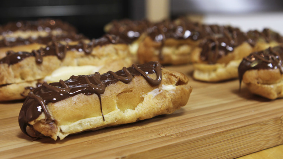 DARK CHOCOLATE AND GINGER ECLAIRS