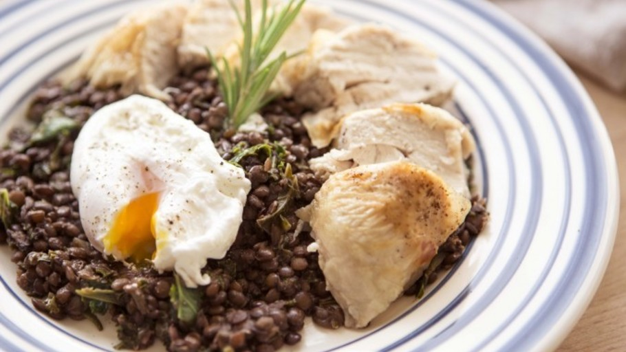 ROAST CHICKEN, LENTILS AND KALE