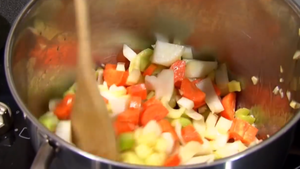 Peel and fry veg