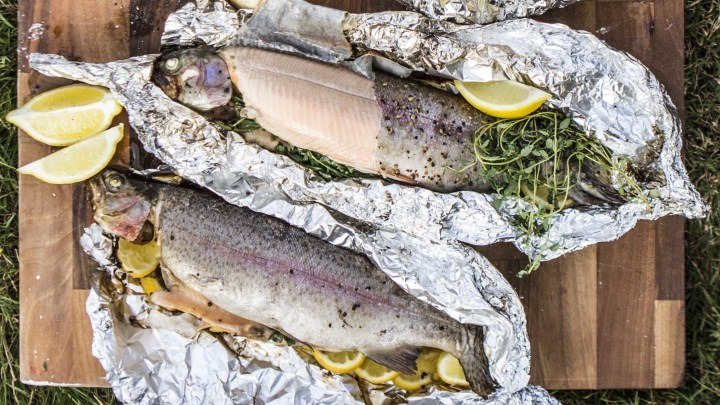 TROUT ON AN OPEN FIRE