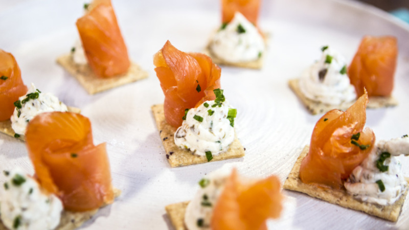 Smoked salmon canape for Canape cookbook