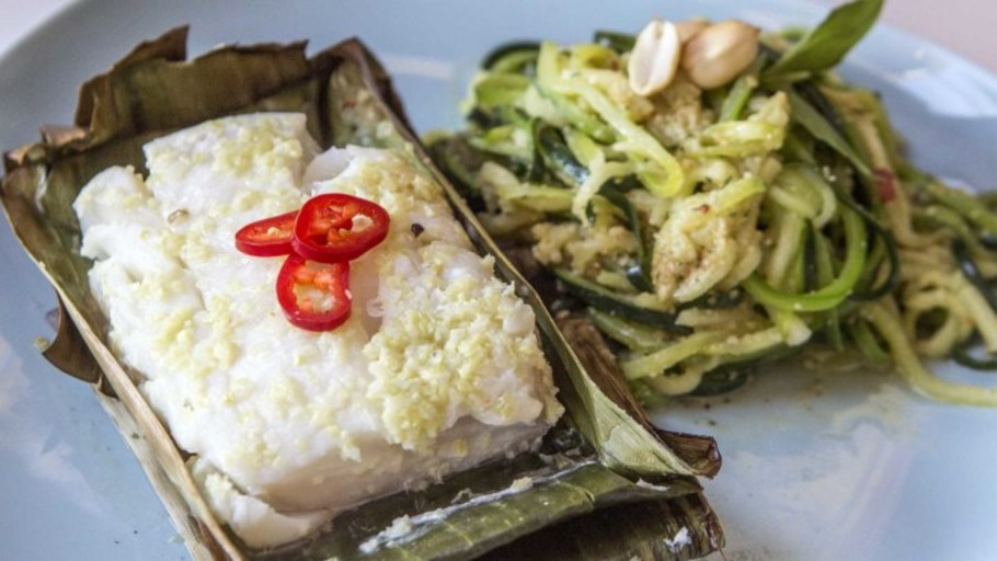 COURGETTI WITH BANANA LEAF BAKED COD
