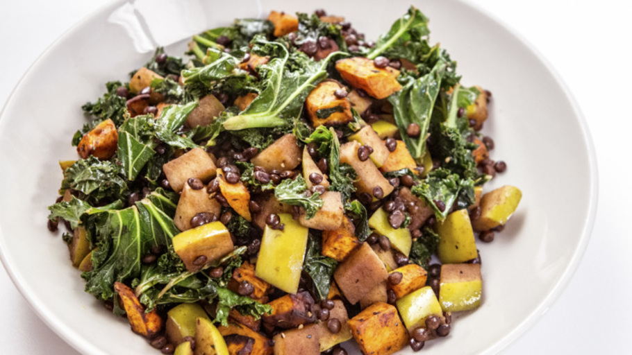 ROASTED SQUASH, KALE AND LENTIL SALAD