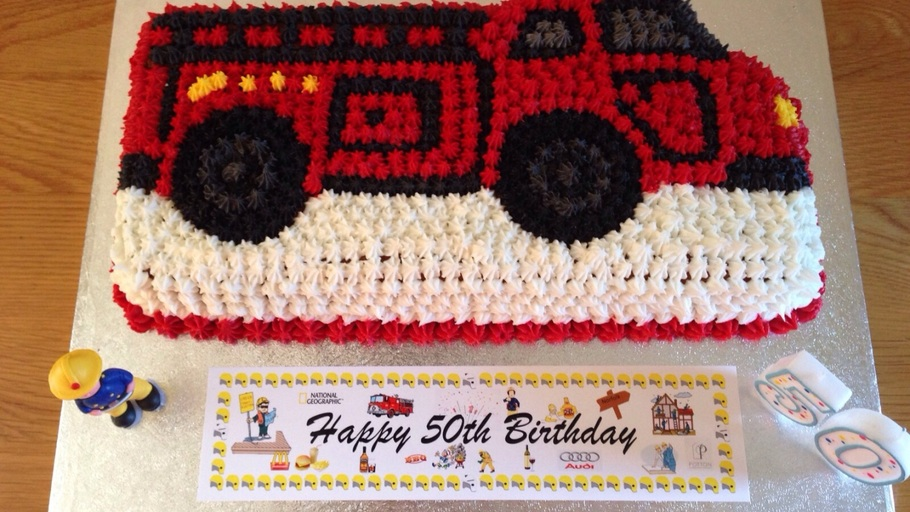 Enjoyable Fire Truck Cake Personalised Birthday Cards Arneslily Jamesorg