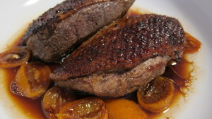 Slice the roasted duck