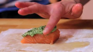 lay salmon on pastry