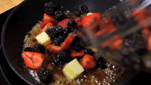 add the butter and berries