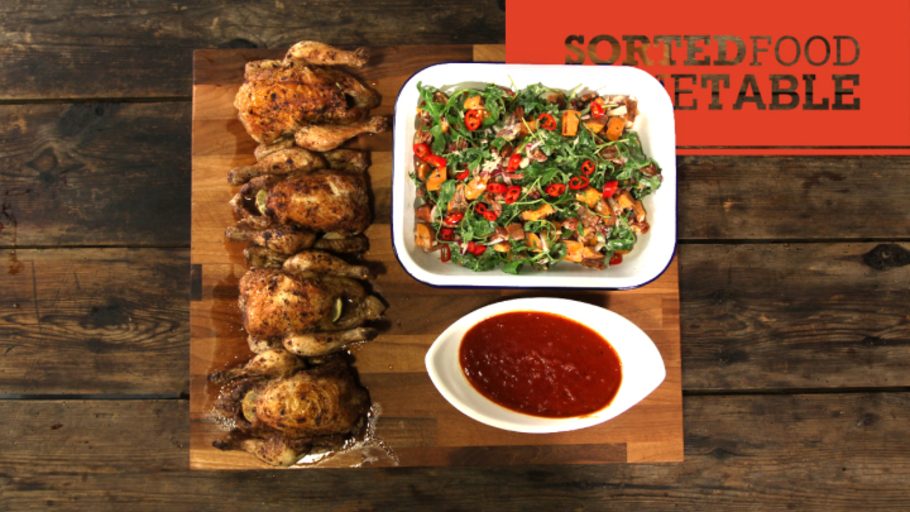 JERK POUSSIN AND SWEET POTATO SALAD